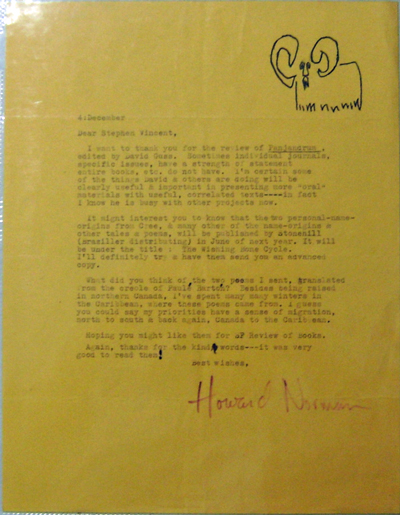 Typed Letter Signed to Stephen Vincent. Howard Norman.