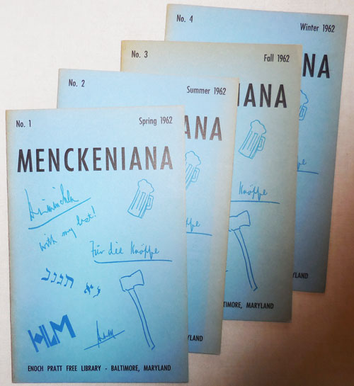 Menckeniana Volume 1 Number 1 Through Volume 1 Number 4. Betty Adler, H. L. Mencken.