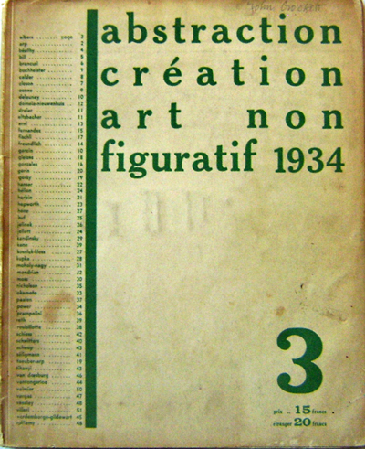 Abstraction Creation Art Non Figuratif 1934 (Number 3). Art - Seligmann / Kandinsky / Brancusi / Arp / Moholy-Nagy / Albers.