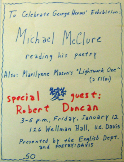 Original Hand-Printed Exhibition Flyer. George Art - Herms, Michael McClure / Marilynne Mason / Robert Duncan.