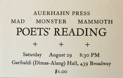 Announcement Card for the Auerhahn Press Mad Monster Mammoth Poet's Reading. Auerhahn Press.