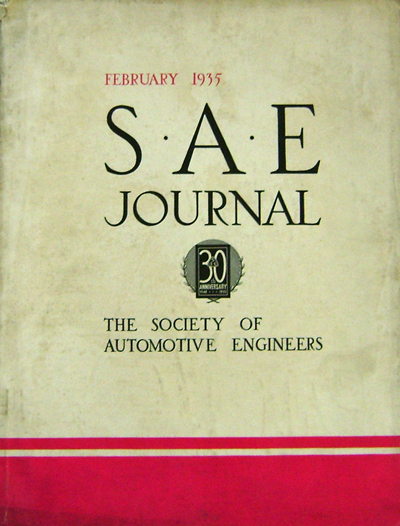 S.A.E. Journal January 1935 - June 1935 (Six Issues). Automobiles - Society of Automotive Engineers.
