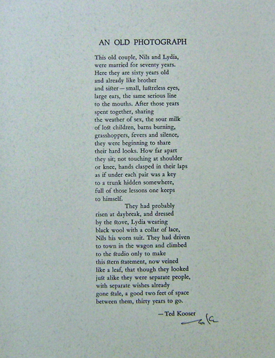An Old Photograph (Signed Poetry Broadside). Ted Kooser.