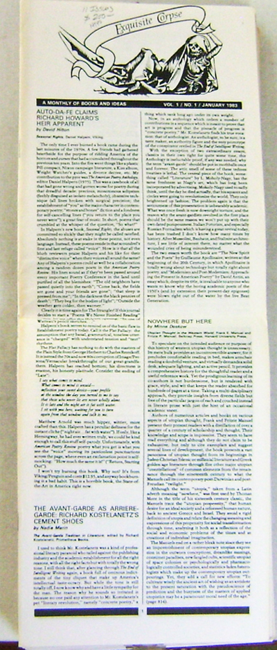 Exquisite Corpse A Monthly Of Books And Ideas - 11 Issues (Volume 1 Number 1, 2, 4, 5, 7, 8-9, 12, Volume 2 Number 1, 3-4, 5-7, and 8-11. Andrei Codrescu, Lawrence Markert, Carl Solomon John Cage, Maureen Owen, Benjamin Peret, Dick Gallup, Fielding Dawson, William Levy, Richard Kostelanetz, Barry Gifford, Anne Waldman Sandy Berrigan, James Laughlin, Carl Rakosi, Ira Cohen, Lawrence Ferlinghetti, Robert Creeley, Keith Abbot, Edouard Roditi.