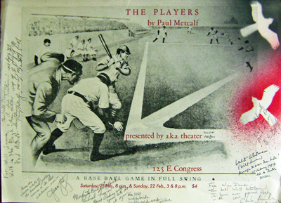 The Players (Baseball Broadside Inscribed by 8). Paul Metcalf.