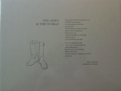 You and I & The World (Broadside Poem). Werner Aspenstrom.
