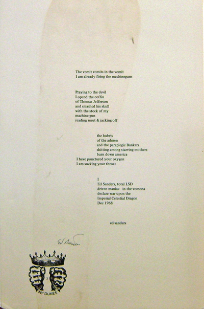 Signed Broadside Poem (The Vomit...). Ed Sanders.