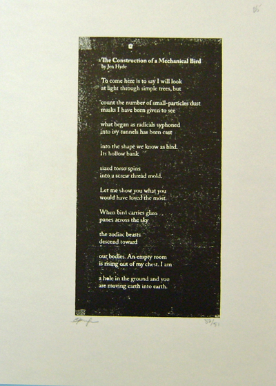 The Construction of a Mechanical Bird (Signed Poetry Broadside). Jen Hyde.