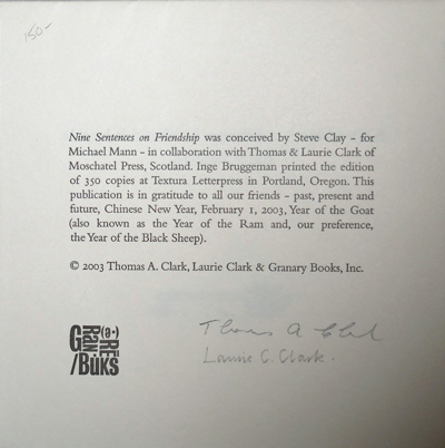 Nine Sentences on Friendship (Signed by The Clarks). Steve Clay, Thomas, Laurie Clark.