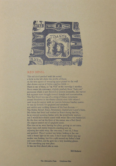 Red Devil (Poetry Broadside). Bill Berkson.