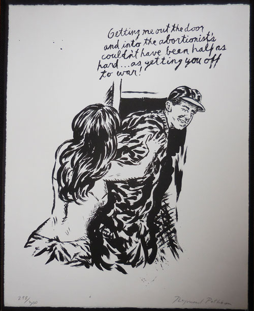 """Signed and Numbered Lithograph """"Getting me out the door...."""" Raymond Artist Multiple - Pettibon."""