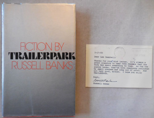 Trailerpark Uncorrected Proofs Copy in Proof Dustwrapper along with a brief  Typed Signed Letter from Banks to a Bookseller by Russell Banks on