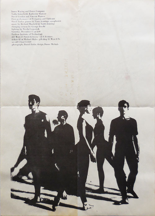Announcement Poster for a 1960 Performance of the James Waring Dance Company and Guests Performing Peripateia and Tableaux at Fashion Institute. with David Tudor, Terry Jennings, Experimental Dance - James Waring, Valda Setterfield Dance Company, David Gordon, Katherine Ramsey, Vincent Warren.