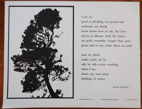 Untitled Broadside Poem (I am no good at pleading...). Diane Beats - Di Prima.