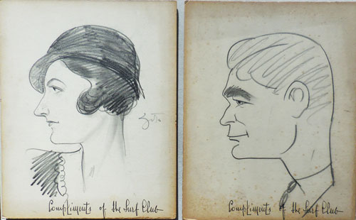 Ten Original Caricatures and Cartoons by Zito from the Surf Club. Vincent Original Art: Caricatures - Zito.