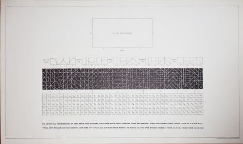 All Combinations of Arcs from Four Corners. Arcs from Four Sides, Straight Lines, Not-Straight Lines and Broken Lines, White Lines On A Black Wall (Art Poster). Sol Art Poster - Lewitt.