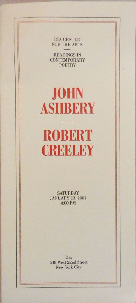 The American and Thinking (two DIA broadside poems). John Ashbery, Robert Creeley.
