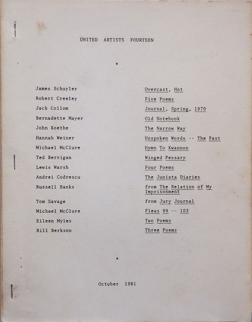 United Artists Fourteen. Ted Berrigan, Robert, Creeley, Russell, Banks.