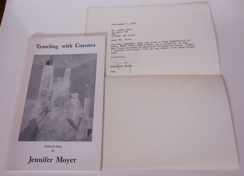 Traveling with Coyotes (with 1 Page T.L. S. to a fellow Poet); Poems & Diary. Jennifer Moyer.