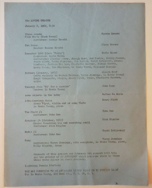 Announcement Sheet for a series of performances on January 8, 1962 at the Living Theatre. Henry Flynt Living Theatre - George Brecht, Earle Brown, Dick Higgins, Yoko Ono.