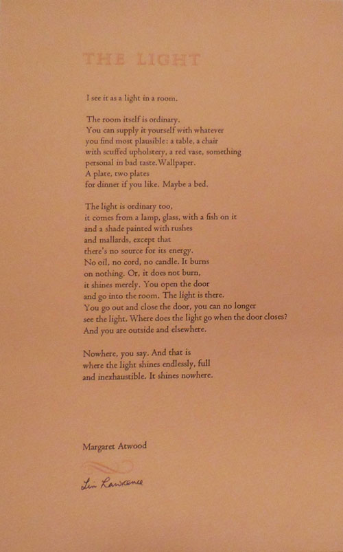The Light (Poetry Broadside (Signed by Lin Lawrence). Margaret Atwood, Designer Lin Lawrence.