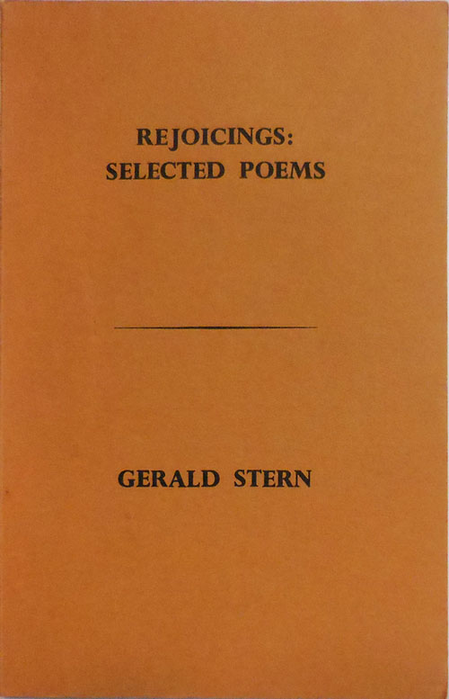 Rejoicings: Selected Poems (Inscribed). Gerald Stern.
