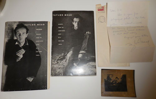 Group of Items Including An Original Photograph, A Handwritten Letter plus Excerpts From The Anonymous Diary of a New York Youth plus Second: Excerpts From the Anonymous Diary of a New York Youth. Taylor Mead.