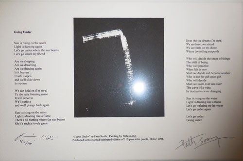 Going Under (Signed Broadside Poem). Patti Smith, Path Soong.