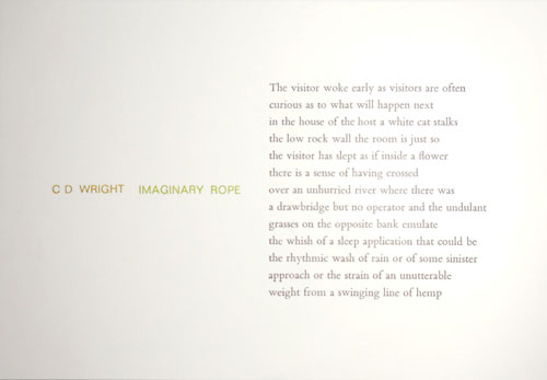 Imaginary Rope (Poetry Postcard. C. D. Tungsten Press - Wright.
