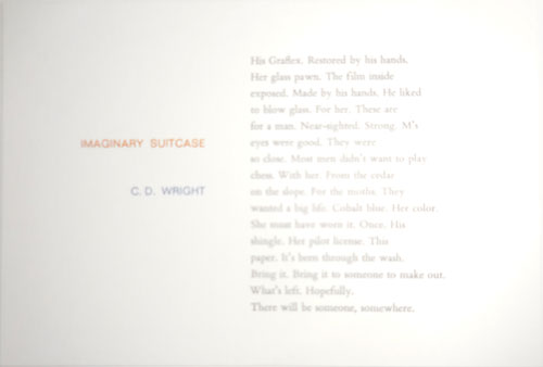 Imaginary Suitcase (Poetry Postcard. C. D. Tungsten Press - Wright.