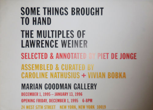 Some Things Brought To Hand - The Multiples Of Lawrence Weiner (Poster). Lawrence Art Poster - Weiner.