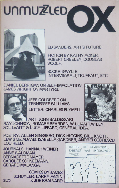 Unmuzzled Ox 13 (Volume 4 Number 1). Michael Andre, Hannah Weiner Kathy Acker, Ray Johnson, Robert Creeley, Anne Waldman.