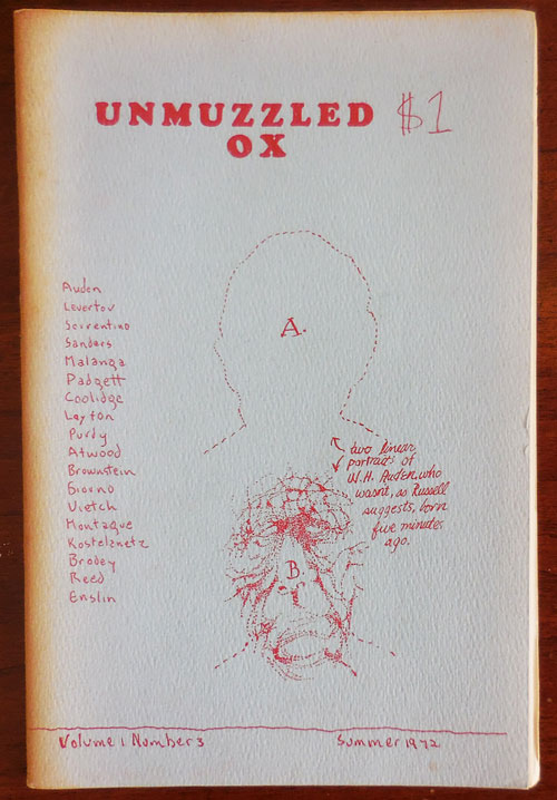 Unmuzzled Ox Volume 1 Number 3. Michael Andre, W. H. Auden Laurie Anderson, John Giorno, Margaret Atwood, Ron Padgett.