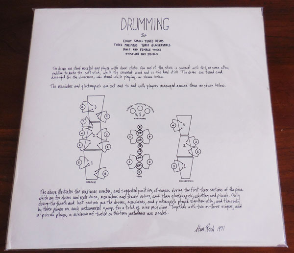 Drumming: For Eight Small Tuned Drums, Three Marimbas, Three Glockenspiels, Male and Female Voices, Whistling, and Piccolo. (Inscribed Association Copy). Steve Avant Garde Music - Reich.