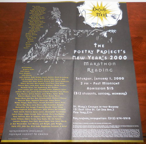 The Poetry Project's New Year's 2000 Marathon Reading 2000 Poster / Flyer. Douglas Dunn Poster - Victor Bokris, Patti Smith, Lewis Warsh, John Yau, Tony Towle.