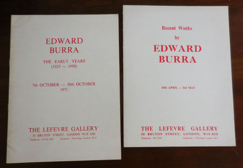 Two Artist Catalogs (Recent Works and The Early Years). Art - Burra Edward.