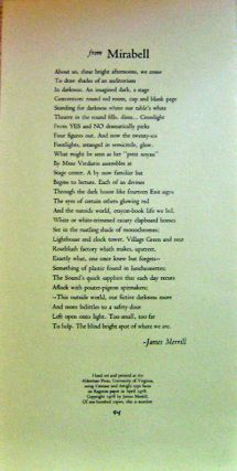From Mirabell (Broadside Poem). James Merrill