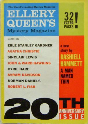 Ellery Queen's Mystery Magazine March 1961 Issue. Dashiell Hammett, Erle Stanley, Gardner,...