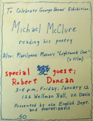 Original Hand-Printed Exhibition Flyer. George Art - Herms, Michael McClure / Marilynne Mason /...