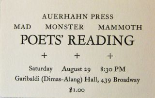 Announcement Card for the Auerhahn Press Mad Monster Mammoth Poet's Reading. Auerhahn Press