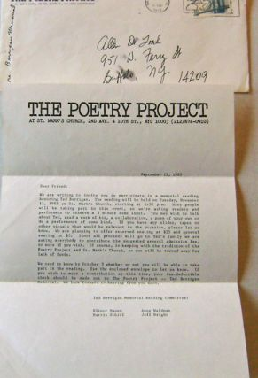 One Page Typed Letter from The Poetry Project Announcing the Ted Berrigan Memorial Reading on...