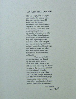 An Old Photograph (Signed Poetry Broadside). Ted Kooser