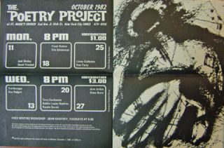 The Poetry Project October 1982 Event Announcement Poster. Ted Berrigan, Ron, Padgett