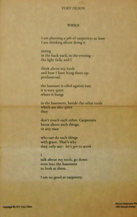 Tools (Broadside Poem). Toby Olson