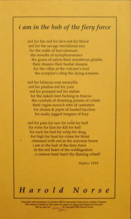 I Am In The Hub Of The Fiery Force (Broadside Poem). Harold Norse