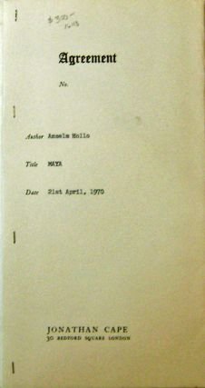 Maya; Works 1959 - 1969 (Long Galley Proof Sheets with Original Jonathan Cape Contract). Anselm...