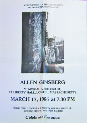 Poster for a 1986 Allen Ginsberg Appearance at Memorial Auditorium, Lowell Massachusetts with...