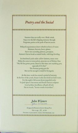 Poetry and the Social (Signed Broadside Poem). John Wieners