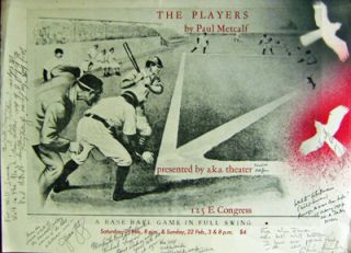 The Players (Baseball Broadside Inscribed by 8). Paul Metcalf