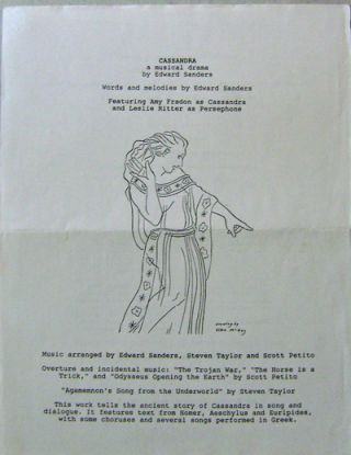 Cassandra - A Musical Drama (Announcement Flyer). Edward Sanders